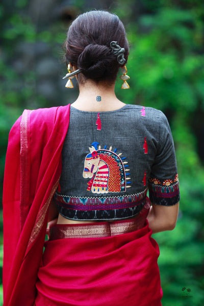 Grey Handloom Cotton Kala Ghoda Blouse