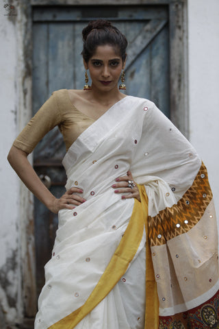 The Kalamkari Chamko Saree Pearl White/ Yellow Maroon