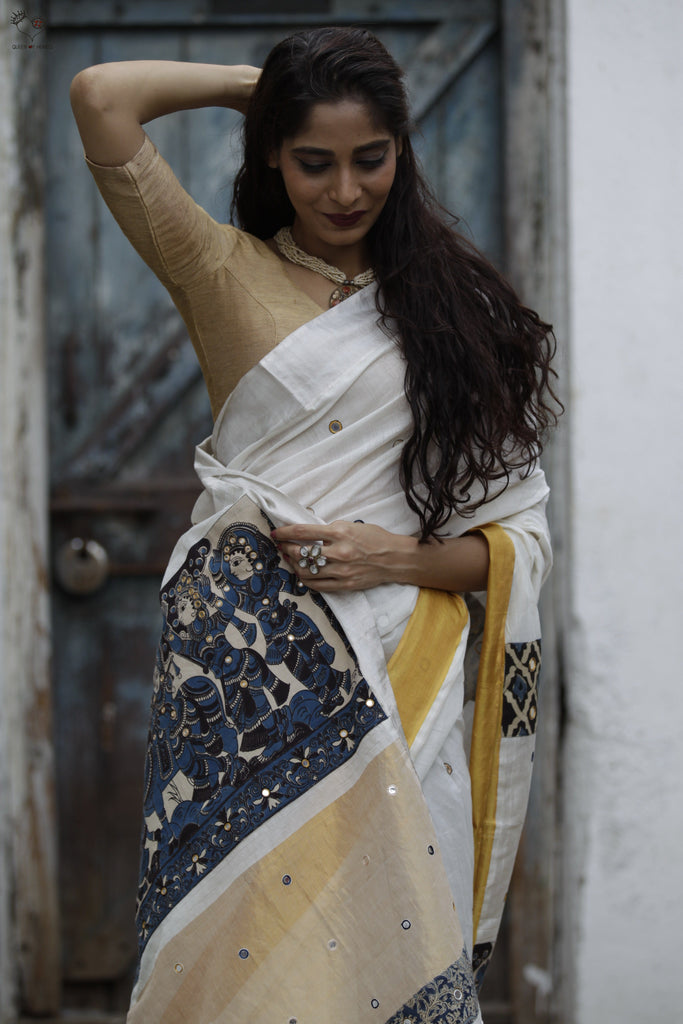 The Kalamkari Chamko Saree Pearl White/ Blue Black