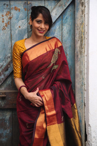 Deep Maroon Kanjivaram Cotton Silk Royal Parrot Saree