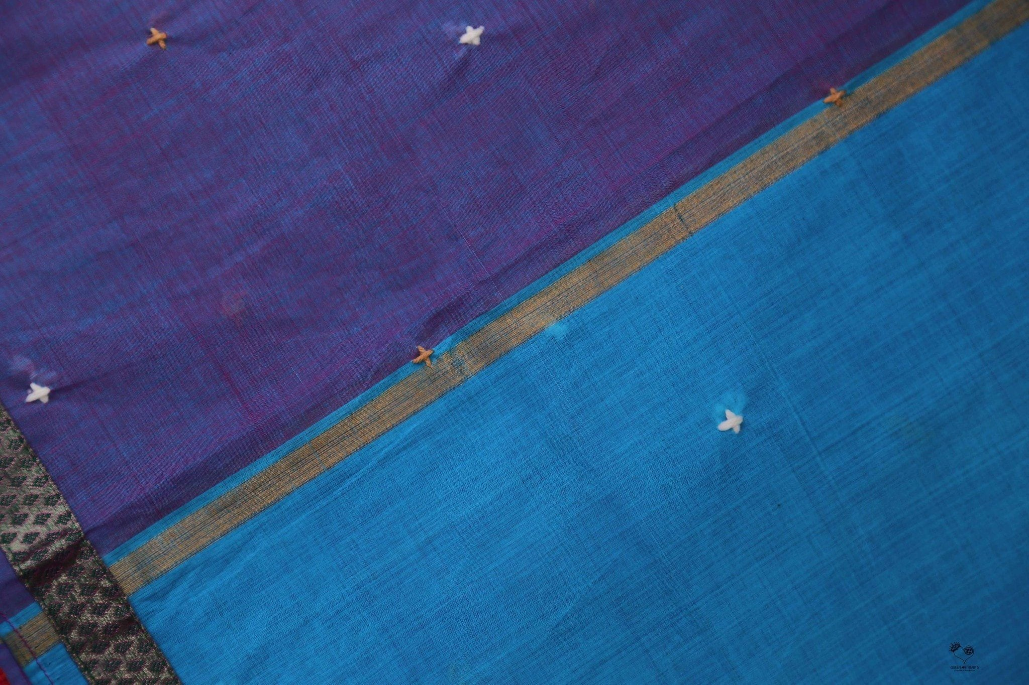 Hot Pink Purple Kanjivaram Cotton Wool Phool Saree