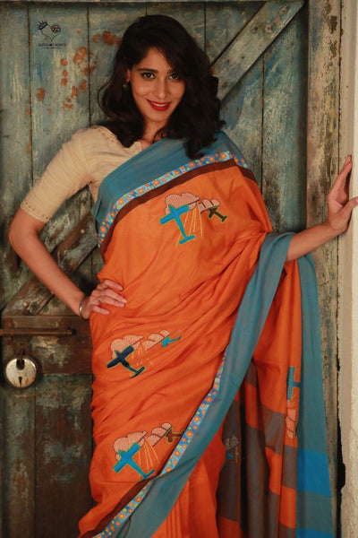 Orange Bengal Cotton Top Gun Saree