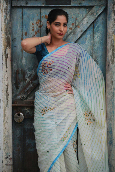 White Kota Cotton Leheriya Clouds Saree
