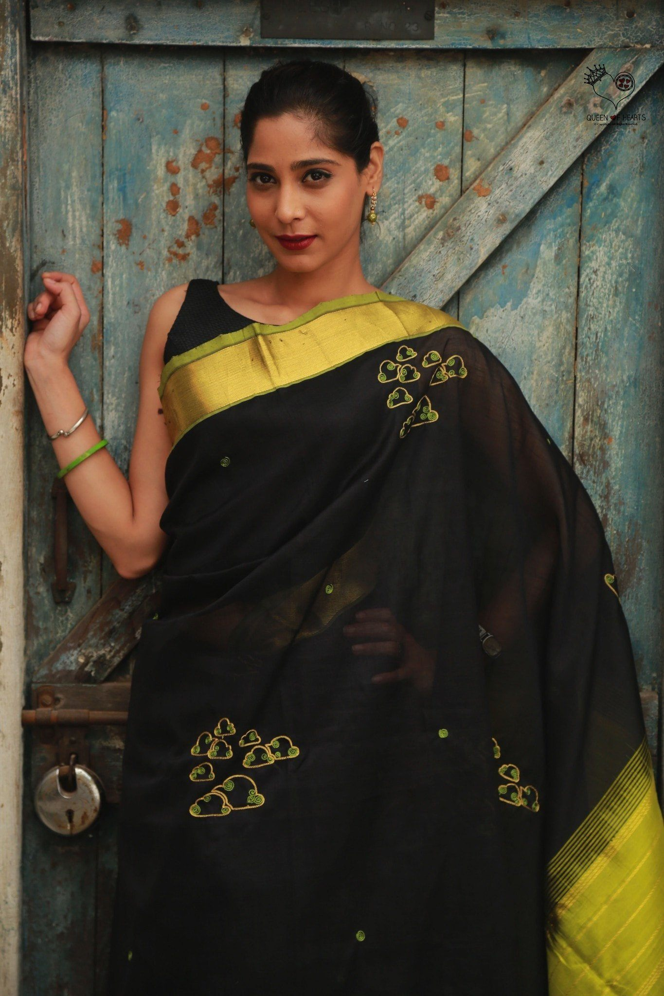 Black Cotton Kanjivaram Silk Cotton Clouds Saree