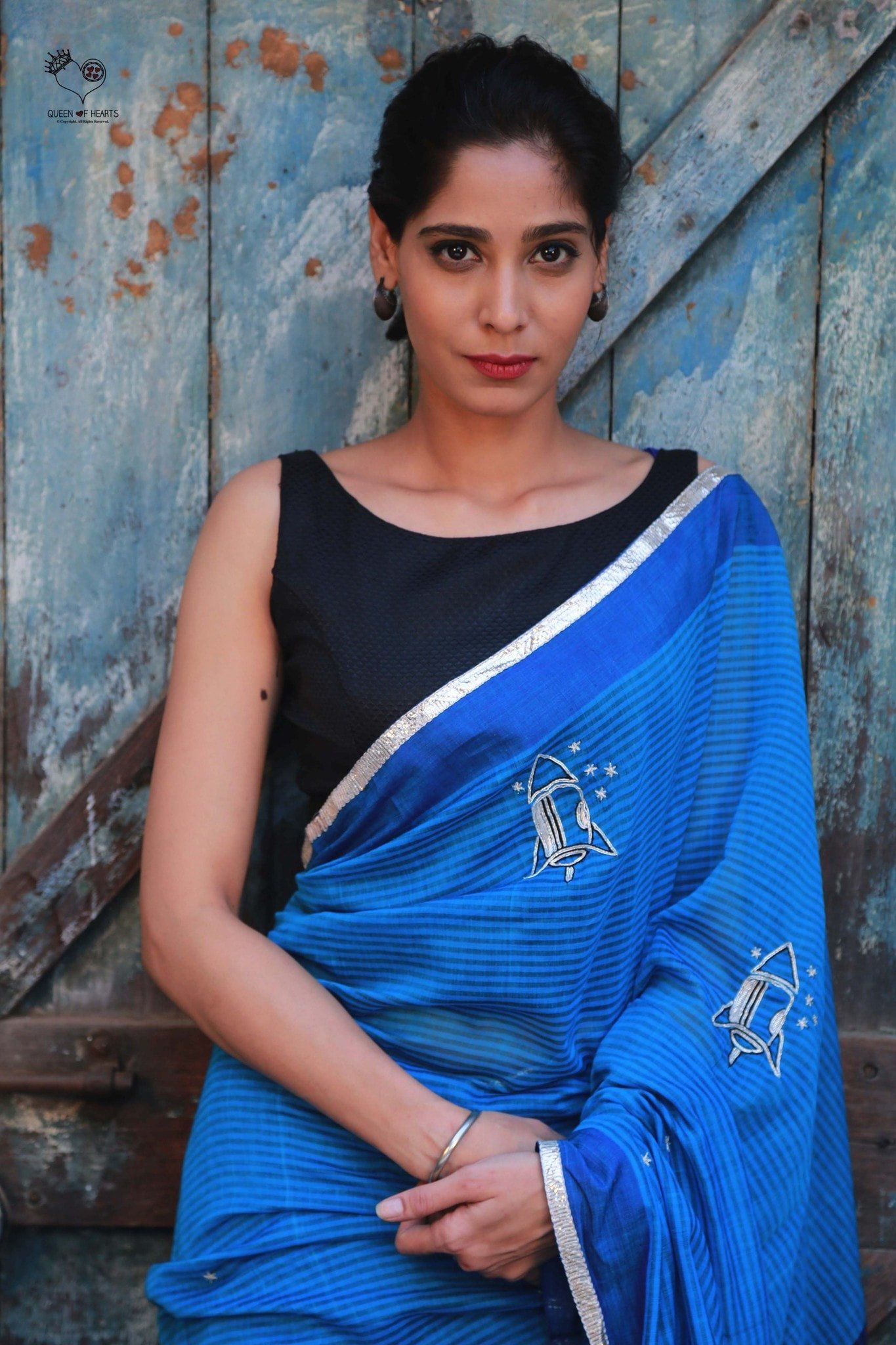 Shades of Blue Checks Bengal Cotton Rockets Saree