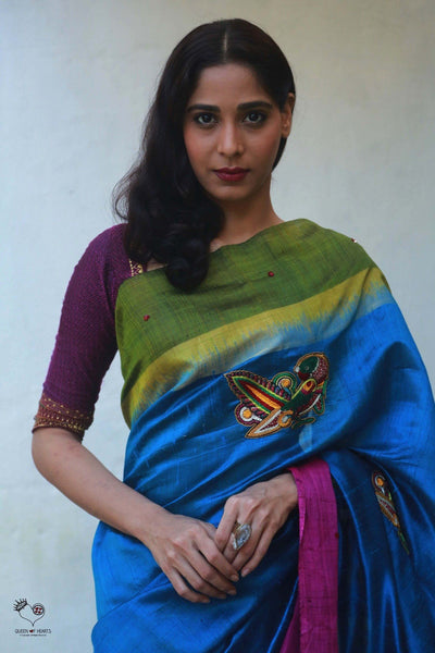 Turquoise Blue Tussar Silk Bird Saree