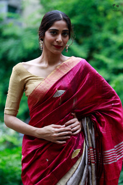 Smokey Pink Handspun Tussar Silk Indian Monsoon Saree