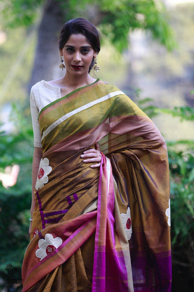 Jewel Tones Kanjivaram Silk Cotton Mubbagam Rekha Saree