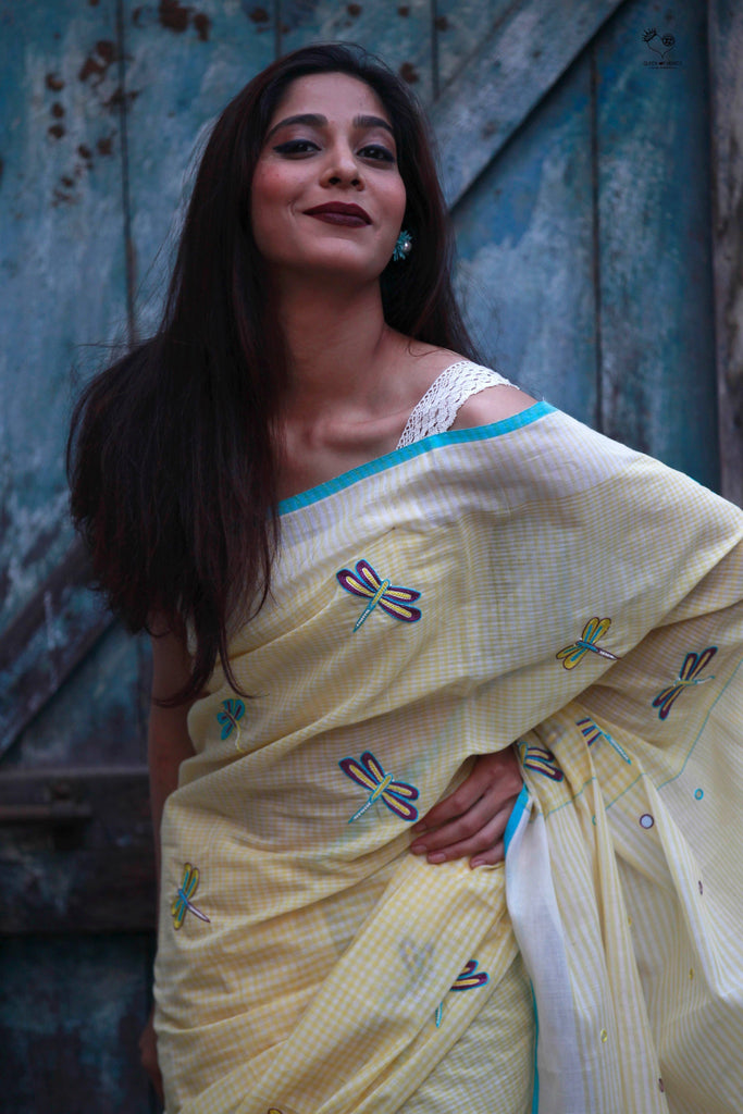 Lemon Yellow Handloom Cotton Dragonfly Saree