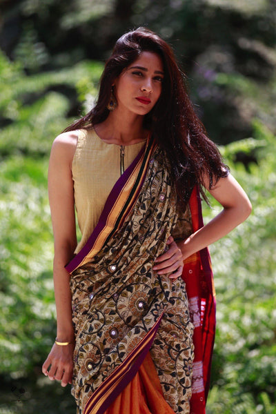Mango Yellow Handwoven Irkal Saree