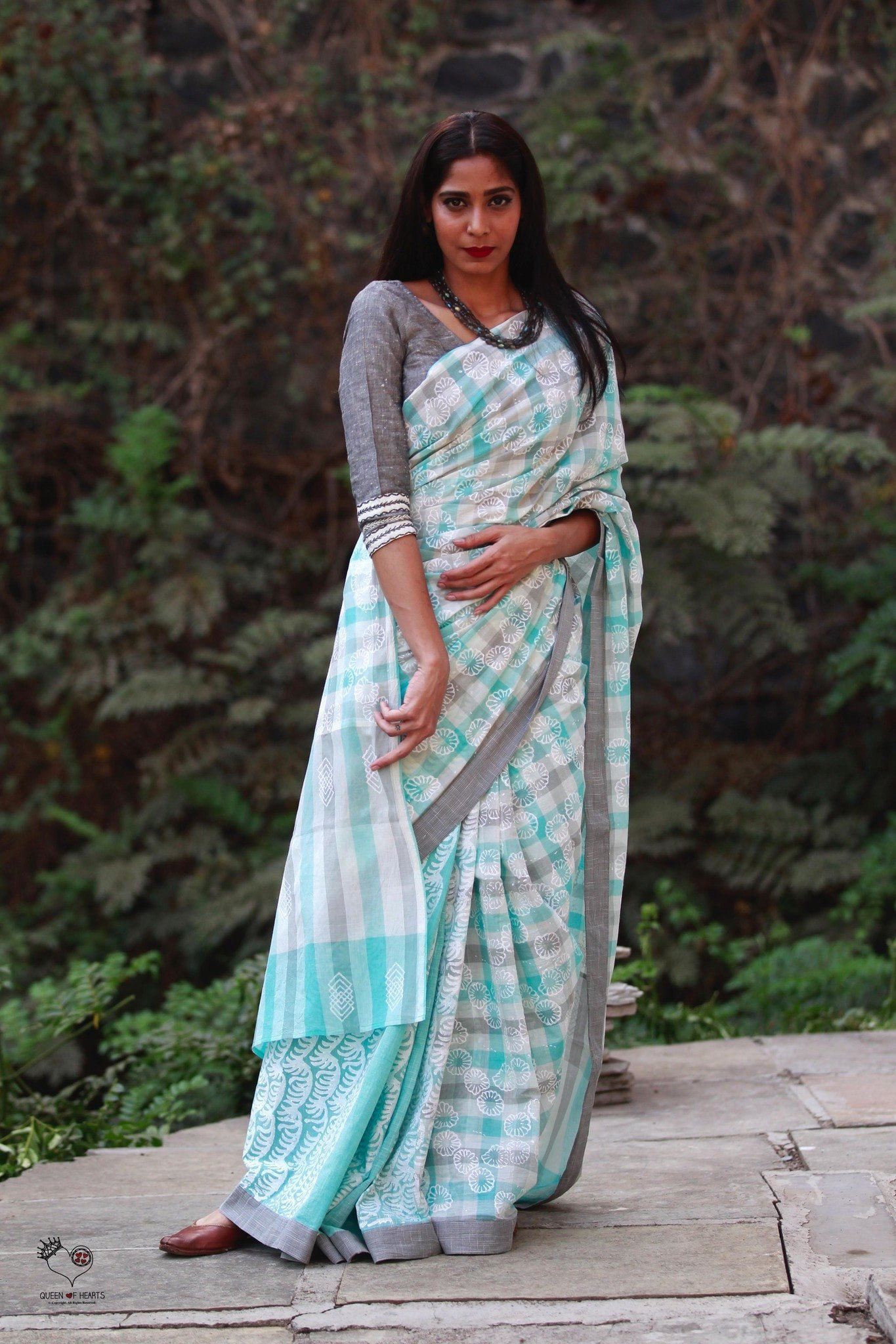 Sky Blue Grey White Ice Cool HBP Handloom Cotton Saree