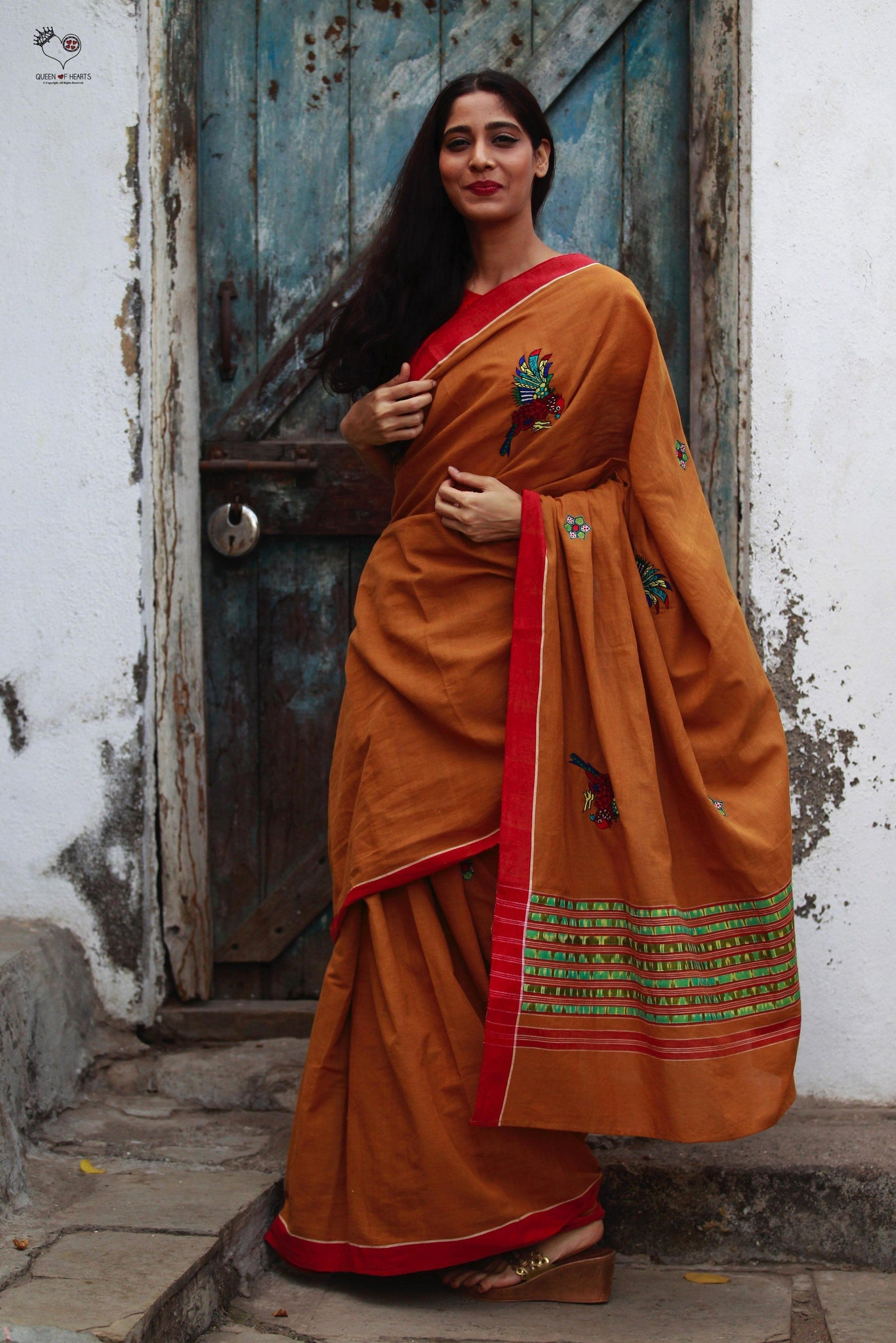 Tan Brown Red Handloom Cotton Bird Saree