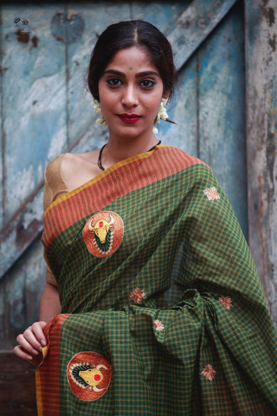 Green Burnt Orange Handloom Cotton Bull Saree