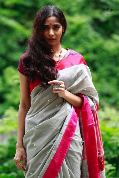 Elephant Grey Red Pink Handloom Cotton Mirror Saree