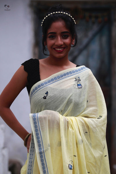 Butter Yellow Cotton Cat Saree