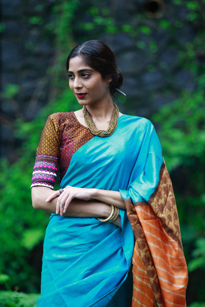 Turquoise Browns Handloom Tussar Silk 18 Hour Saree