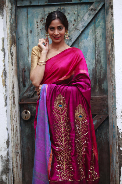 Magenta Blue Kanjivaram Cotton Silk Peacock Feather Saree