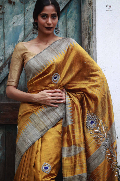 Gold Yellow Handloom Tussar Silk Peacock Feather Saree