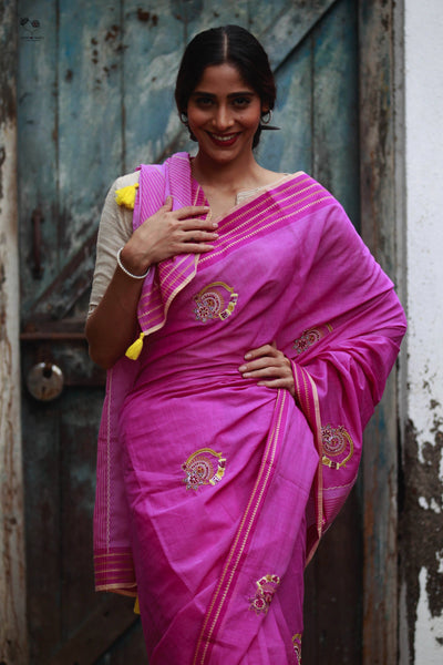 Ultra Pink Handloom Cotton Nath Saree
