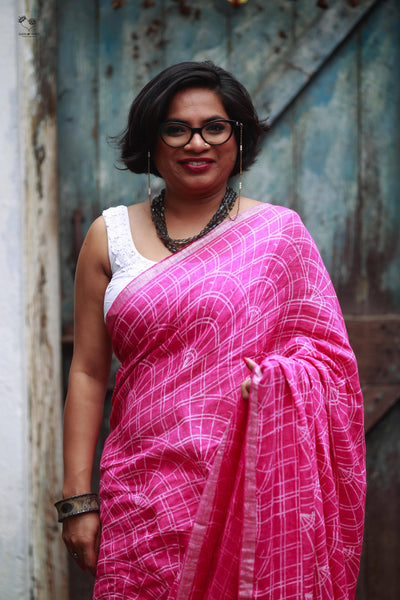 Bubblegum Pink Hand Block Printed Handloom Linen Geometry 3 Saree