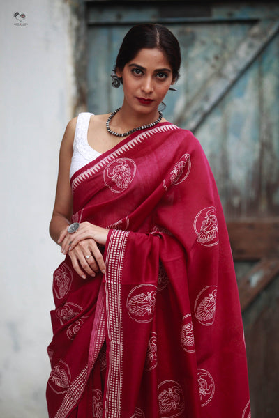 Maroon Bull Hand Block Printed Silk Cotton Chanderi Saree