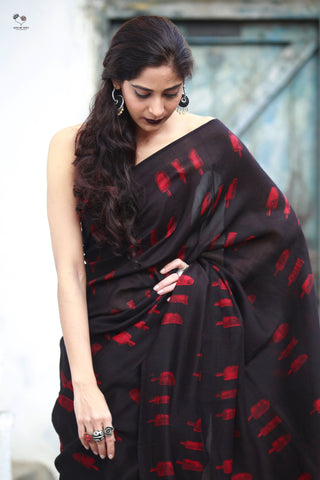 Black Red Ice Candy Hand Block Printed Silk Cotton Chanderi Saree