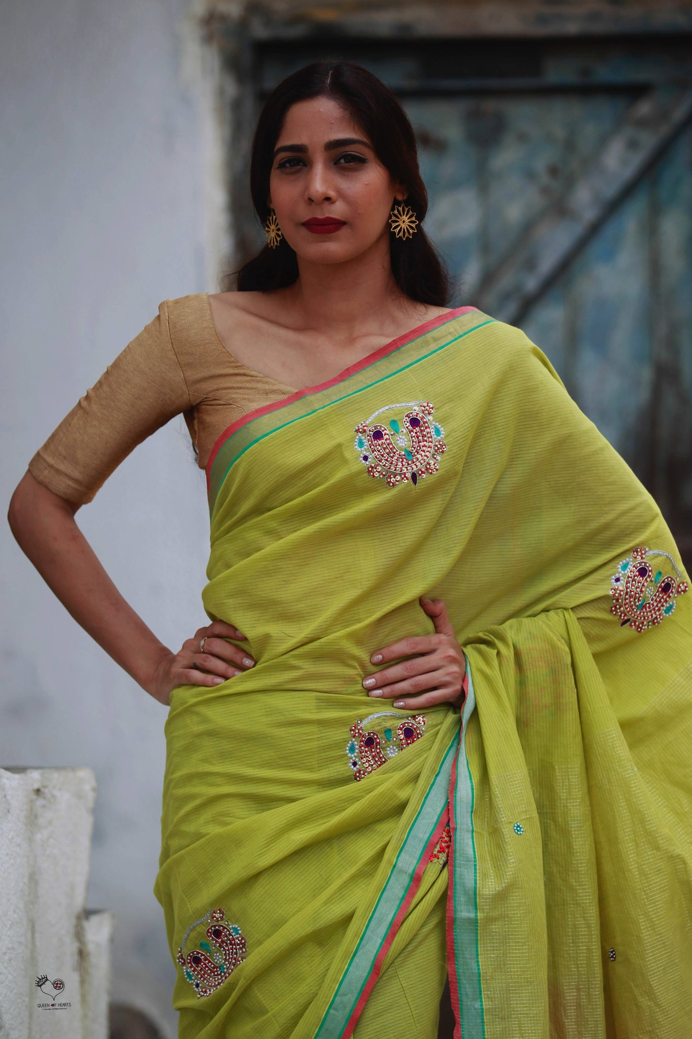 Lime Green Handloom Cotton Nath Saree