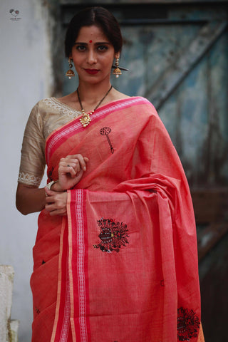 Carrot Red Handloom Cotton Devi Saree
