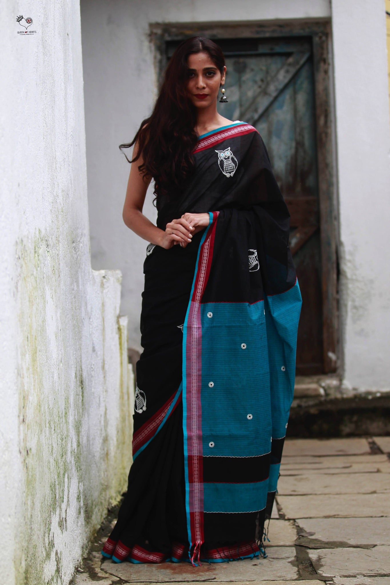 Black Teal Blue Handloom Cotton Owl Saree