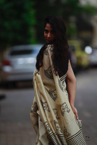Kora White Rocking Horse Hand Block Printed Silk Cotton Chanderi Saree