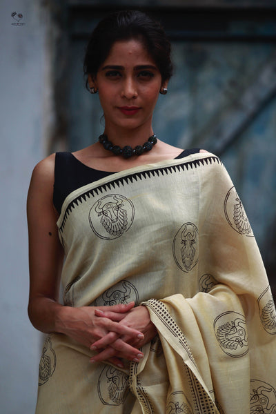 Kora White Bull Hand Block Printed Silk Cotton Chanderi Saree