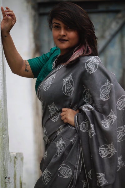 Grey Owl Hand Block Printed Silk Cotton Chanderi Saree
