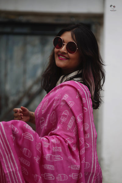 Pink Ice Candy Hand Block Printed Silk Cotton Chanderi Saree