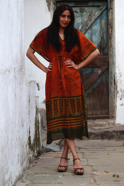 Rust Orange Maheshwari Kaftan