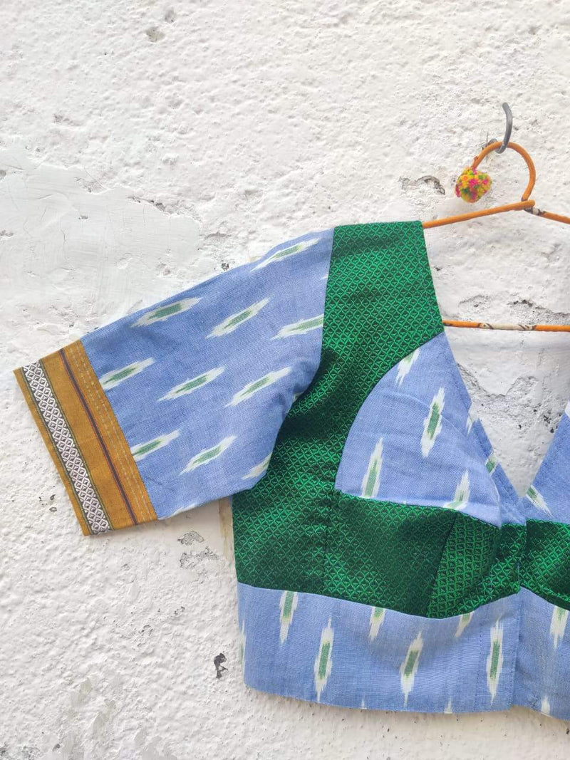 The Ikat Khun Katori Blouse (Sky blue Bangle green)