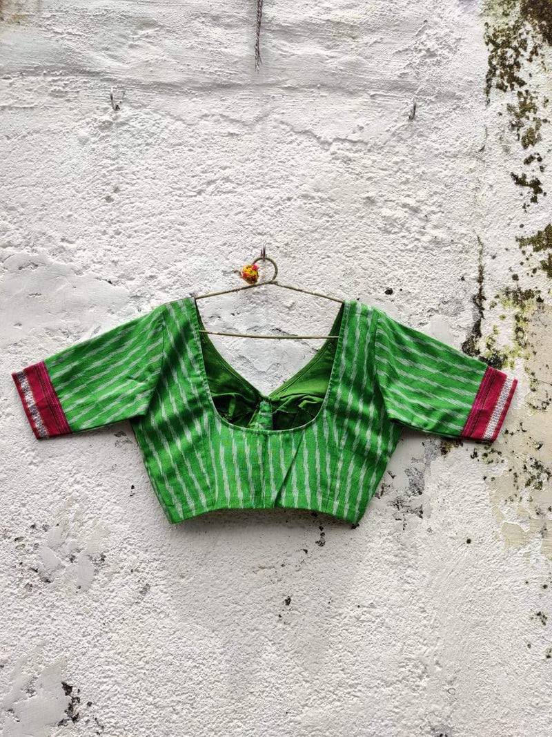 The Ikat Khun Katori Blouse (Parrot green Rani pink)