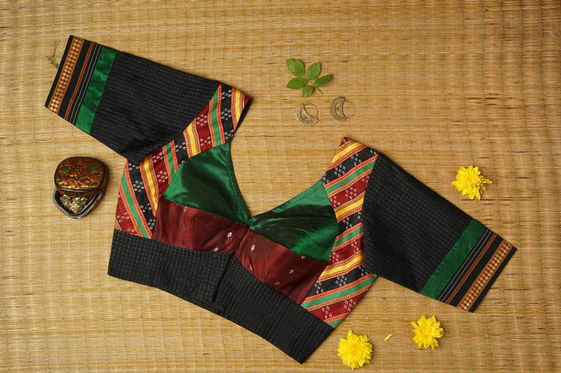 The Magic Mashru Katori Blouse (black/green/brown)