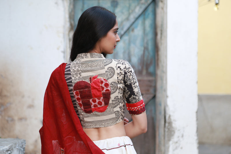 Red Apple Patchwork Blouse