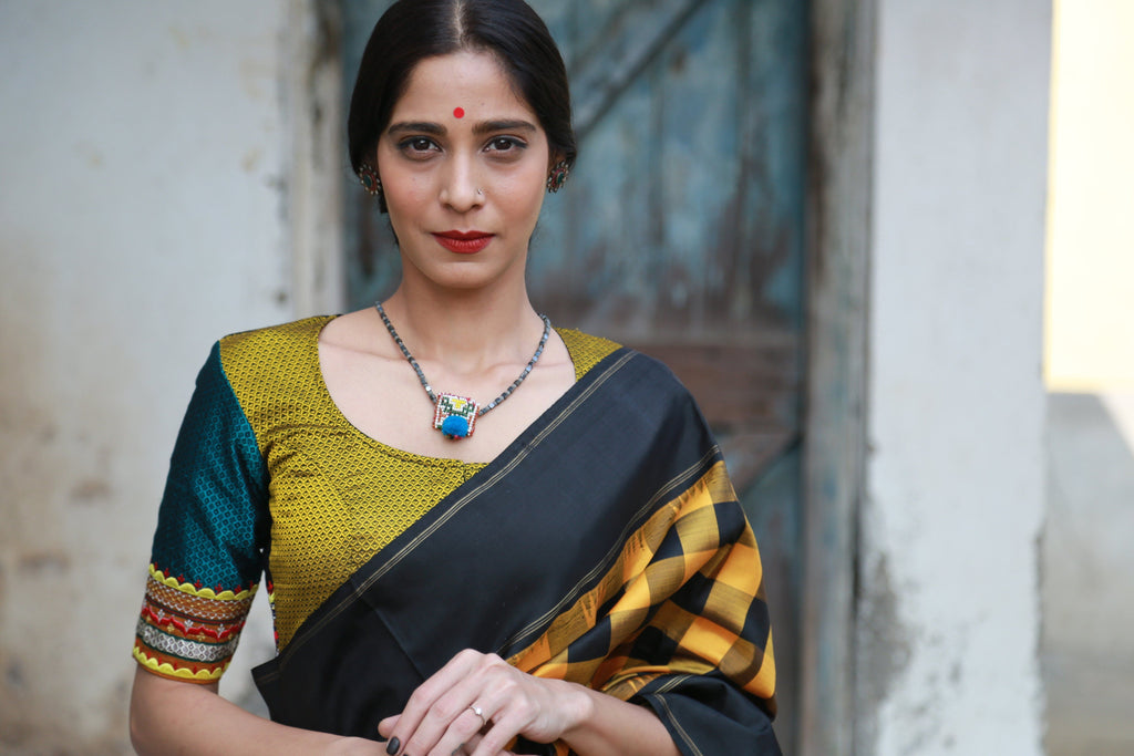 Shades of Black Yellow Green Khun Mogra Blouses