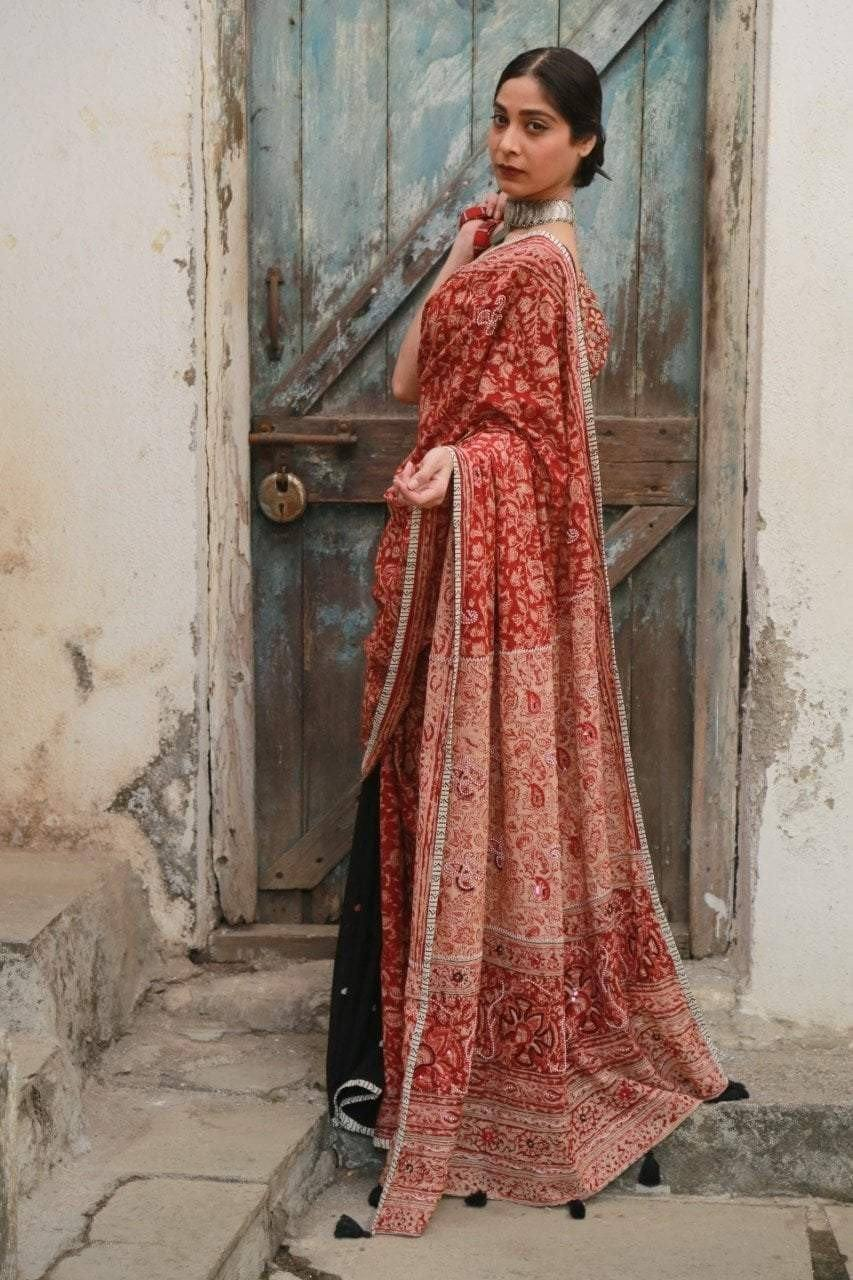 Black/Madder Red Kalamkari Saree