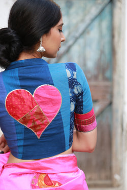 Shades of Blue with Pink Heart Patchwork Blouse
