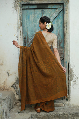 Jaggery Brown Indigo Amala Saree