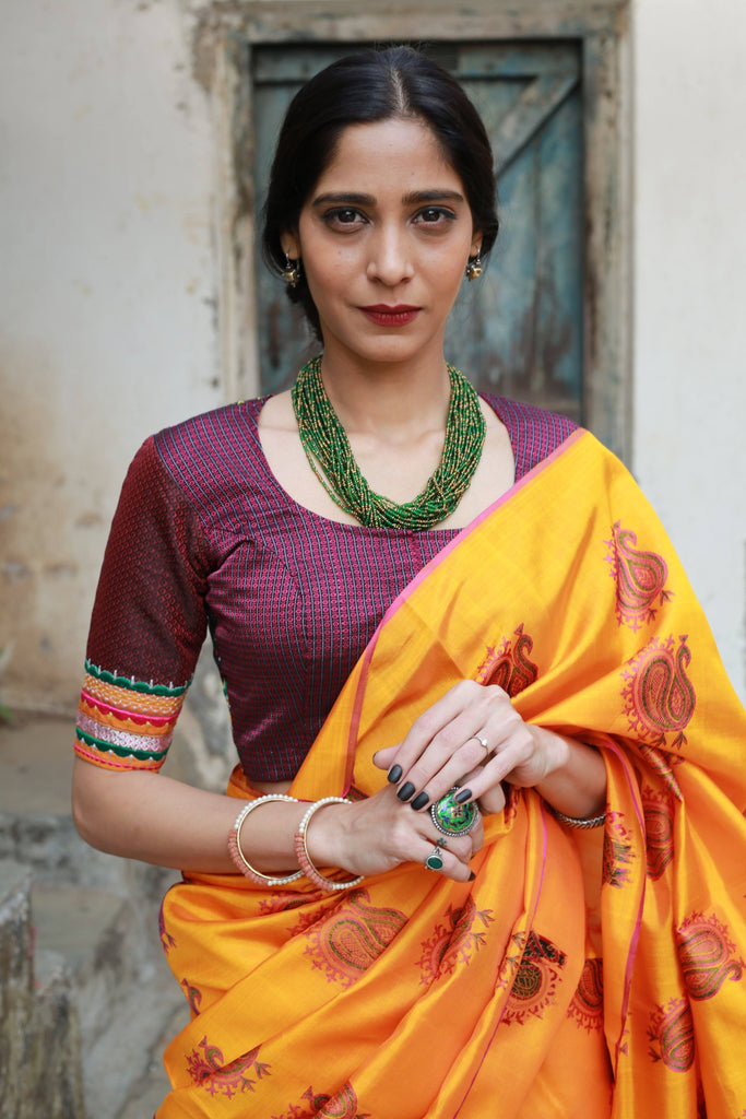 Shades of Purple Brown Khun Mogra Blouses