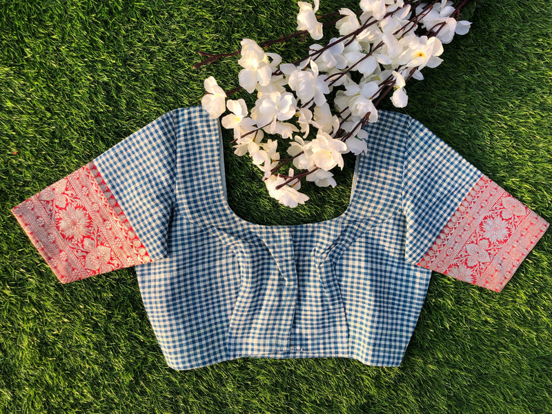 Nur Jehan Blouse - Blue/White Checks