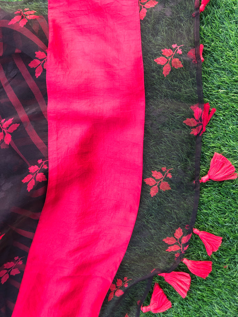 QOH Organza Saree - Black Currant