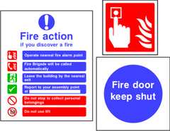 Fire Action, Equipment and Prevention Signage.