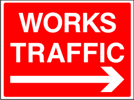 Works Traffic Arrow Right Sign.