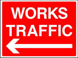 Works Traffic Arrow Left Sign.