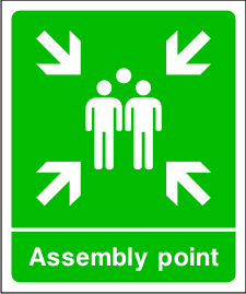 Assembly point sign.