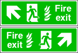 Double sided fire exit sign. Arrow up to the side. Photoluminescent.